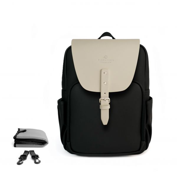 Set Wickelrucksack Black + Flap Coconut White M