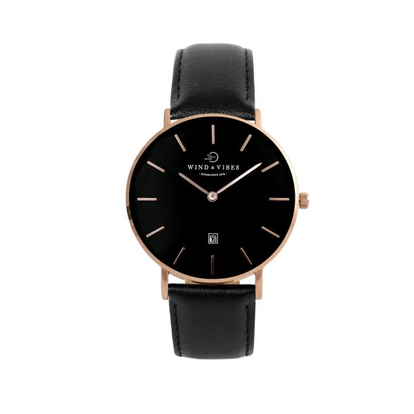 Set Venice Rosegold/Black + Straps Leather Black 36mm