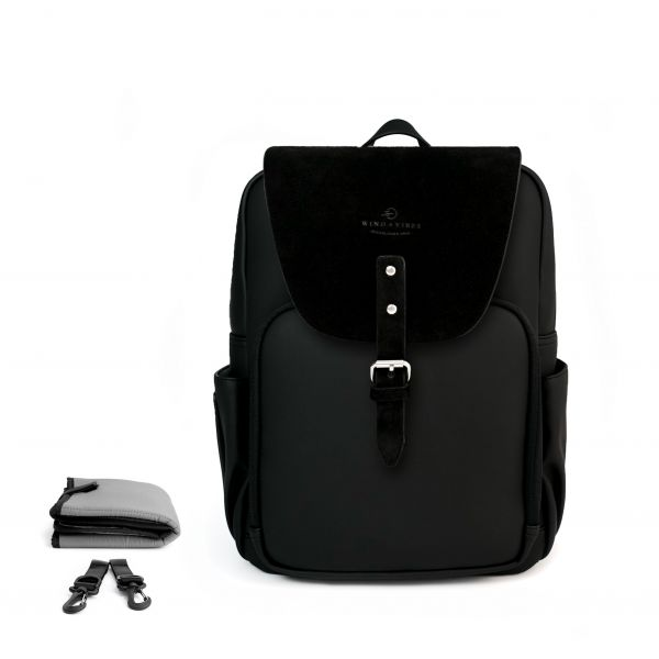 Set Wickelrucksack Black + Flap Black Wildleder M