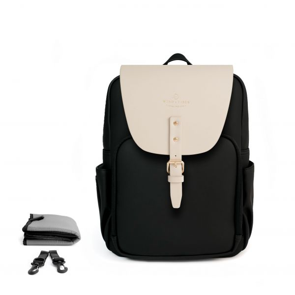 Set Wickelrucksack Black + Flap Cream M