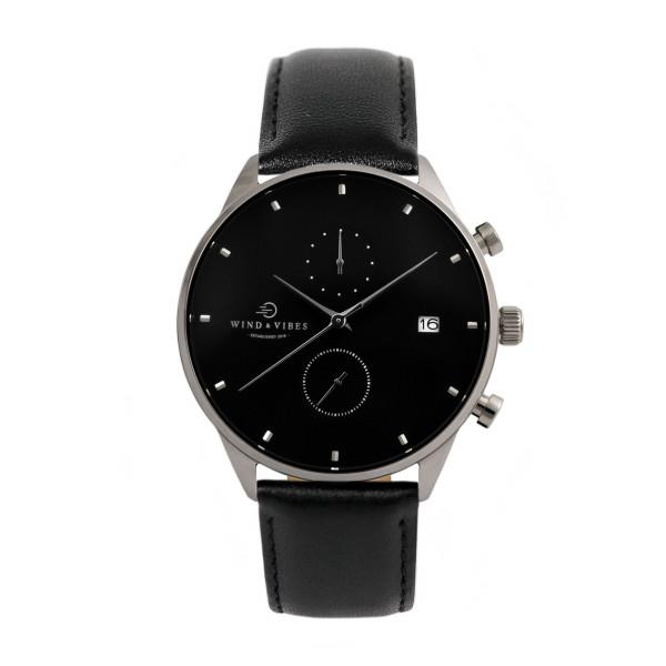 Set Oslo Silver/Black + Straps Leather Black 40mm