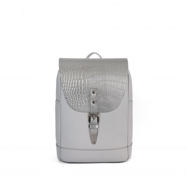 Mayfair Vegan Stone Grey + Flap Croco Metallic Silver