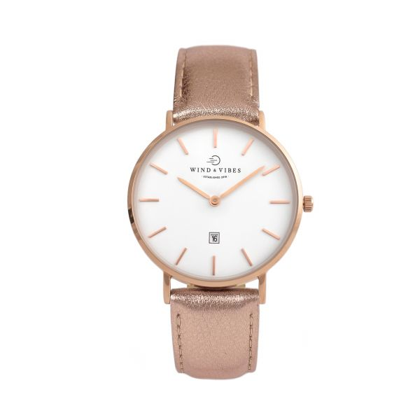 Set Venice Rosegold/White + Straps Leather Rosegold 36mm