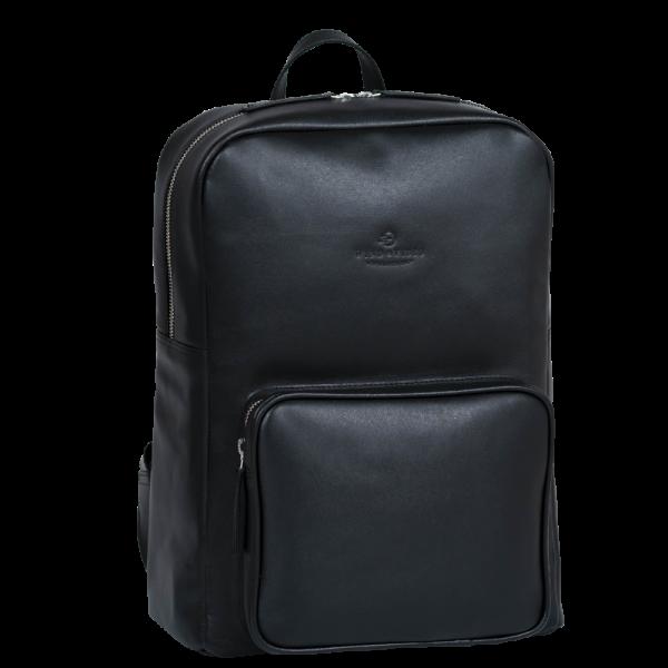 WIND & VIBES Backpack Rucksack Brooklyn Allblack Vorderseite schräg