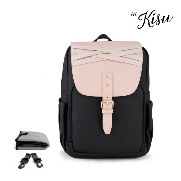 Set Wickelrucksack Black + Flap Blushed Rose M