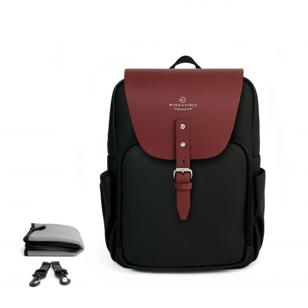 Set Wickelrucksack Black + Flap Bordeaux M