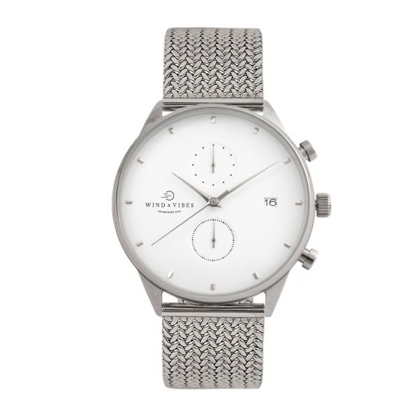 Set Oslo Silver/White + Straps Metallic Silver 40mm