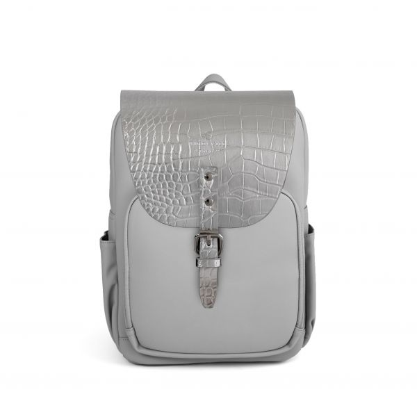 Mayfair Vegan Plus Stone Grey + Flap Croco Metallic Silver