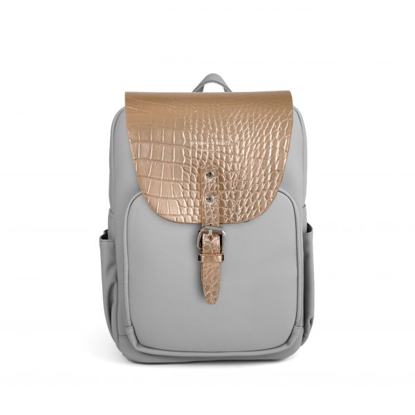 Mayfair Vegan Plus Stone Grey + Flap Croco Metallic Rosegold