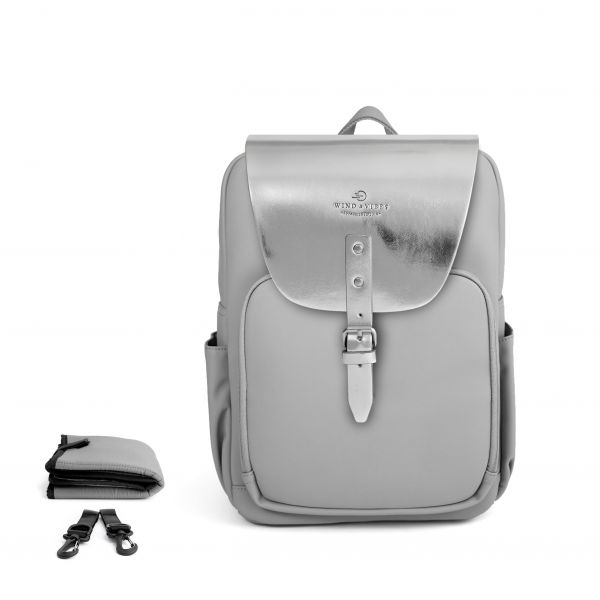 Set Wickelrucksack Stone Grey + Flap Metallic Silver M