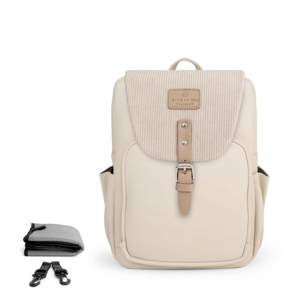 Set Wickelrucksack Cream + Flap Cord Beige M