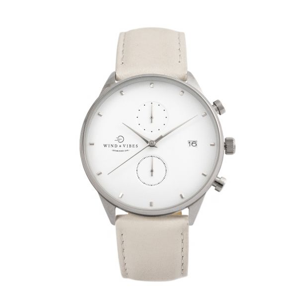 Set Oslo Silver/White + Straps Leather Cream 40mm