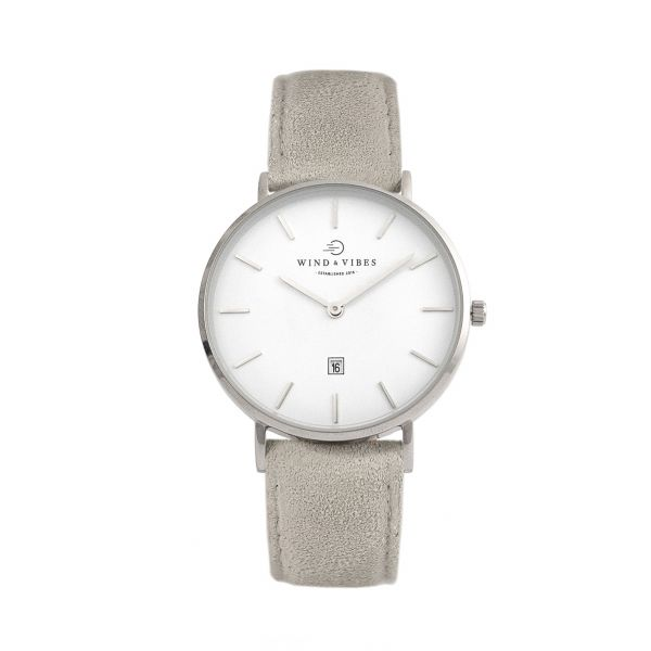 Set Venice Silver/White + Straps Suede Qiet Grey 36mm