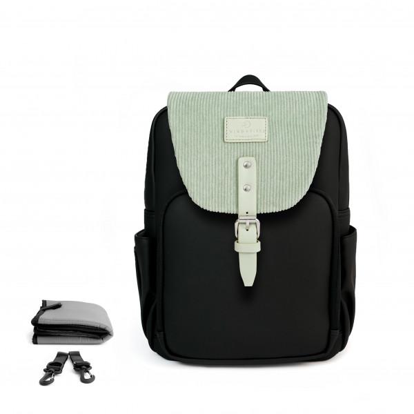 Set Wickelrucksack Black + Flap Cord Mint Green M